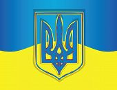 stock photo of trident  - Ukraine flag with national emblem  trident on blood - JPG