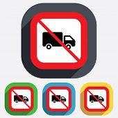 picture of truck-stop  - No Delivery truck sign icon - JPG