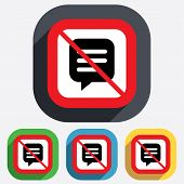 image of not talking  - No Chat sign icon - JPG
