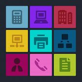 Office web icons set. Color buttons.