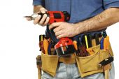 stock photo of handyman  - close up on handyman tools on white background - JPG