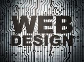 Web development concept: circuit board with Web Design
