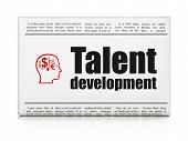 Education concept: newspaper with Talent Development and Head With Finance Symbol