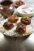 pic of biryani  - Kofta Biryani - Kofta is a family of meatball or dumpling dishes in India. In the simplest form, koftas consist of balls of minced or ground meat usually lamb  mixed with spices and/or onions.