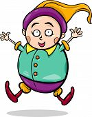 stock photo of gnome  - Cartoon Illustration of Happy Gnome or Dwarf - JPG
