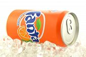 Fanta drink in a can isolated on white background