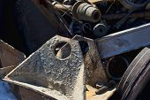 pic of junk-yard  - Cold junk yard metal piled up waiting to be scrapped - JPG