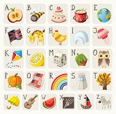 stock photo of quilt  - Alphabet for children with food - JPG