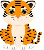 stock photo of tigress  - Cute cartoon of baby tiger sitting down - JPG