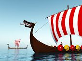 foto of viking ship  - Computer generated 3D illustration with two Viking Ships - JPG