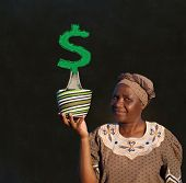 foto of zulu  - South African Zulu woman basket sales woman blackboard money tree - JPG