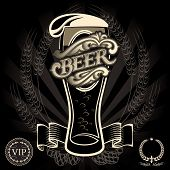 pic of malt  - vector glass of beer on a black background for the menu - JPG