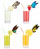 tasty summer fruit drinks in glass with butterfly