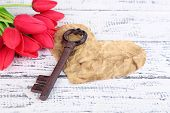Key to love and happiness. Composition with key,  paper heart and flowers. Conceptual photo. On colo