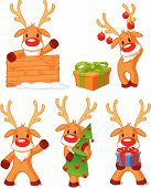 stock photo of rudolph  - Five separately grouped little Rudolphs - JPG