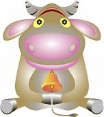 picture of moo-cow  - Young and gluppo cow looks astonished eyes - JPG