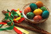 picture of flogging  - View of Czech Easter rods with painted eggs - JPG