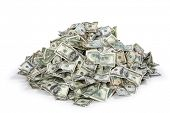 stock photo of knockout  - Pile of US money - JPG