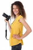 Portrait of a female photographer over white background