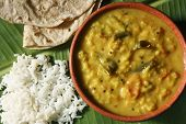 picture of fenugreek  - Top view of methi dal lentil curry from India - JPG