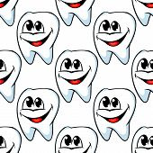 pic of tooth-fairy  - Repeat seamless pattern of happy healthy teeth with huge cheerful smiles in square format suitable for textile or wallpaper - JPG