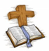 pic of repentance  - A Bible and wooden cross Page divider - JPG