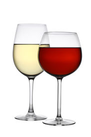 picture of knockout  - Glasses of red and white wine cutout - JPG