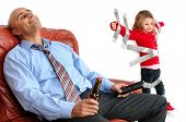 picture of daddy  - Young girl glued to the wall with duct tape so daddy can relax and have a beer - JPG