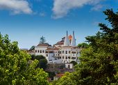 foto of suny  - National palace of  Sintra at suny day - JPG