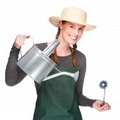 image of pinner  - Full isolated portrait of a beautiful caucasian gardener with watering can - JPG