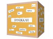 picture of dreidel  - Hanukkah 3D cube Corkboard Word Concept with great terms such as dreidel jewish temple and more - JPG