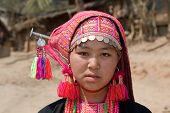 stock photo of hmong  - Hmong woman from Laos portrait in traditional national costume - JPG