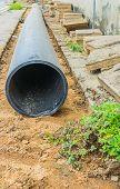 foto of underground water  - installing tap water pipeline on the walkway - JPG