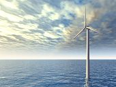 picture of offshore  - Computer generated 3D illustration with an Offshore Wind Turbine - JPG