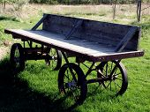 picture of hayride  - Old wood wagon in rural setting - JPG