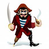 image of saber  - vector illustration of smilling pirat with smoking tube and saber - JPG