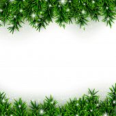 stock photo of christmas wreath  - Christmas background with fir and stars - JPG