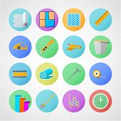 stock photo of linoleum  - Set of colored circle flat vector icons with symbols for linoleum flooring service on gray background - JPG