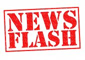 image of flashing  - NEWS FLASH red Rubber Stamp over a white background - JPG