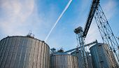 foto of silos  - Towers of grain drying enterprise - JPG