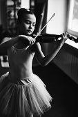 stock photo of ballerina  - Little ballerina playing the violin - JPG