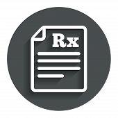 image of prescription  - Medical prescription Rx sign icon - JPG