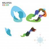pic of malaysia  - Abstract vector color map of Malaysia with transparent paint effect - JPG