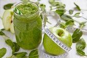 picture of mason  - Apple and spinach green smoothie in mason jar - JPG