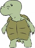 stock photo of green turtle  - Little green sad turtle stay and watch - JPG