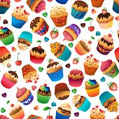 picture of chocolate muffin  - Super cupcake seamless pattern - JPG