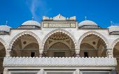foto of arcade  - Blue sky and arcade in Suleymaniye Mosque - JPG