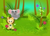 stock photo of jungle snake  - Green jungle background with wild animals illustration - JPG