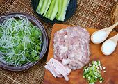 image of scallion  - Vietnamese food meatball make from ground meat delicious popular street food or Vietnam meal season with vegetable as - JPG
