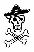 stock photo of skull crossbones flag  - Vector Cartoon Pirate Skull with Crossbones Illustration - JPG